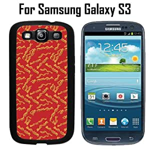 Funny Bacon Pattern Custom Case/ Cover/Skin *NEW* Case for Samsung Galaxy S3 - Black - Rubber Case (Ships from CA) Custom Protective Case , Design Case-ATT Verizon T-mobile Sprint ,Friendly Packaging - Slim Case