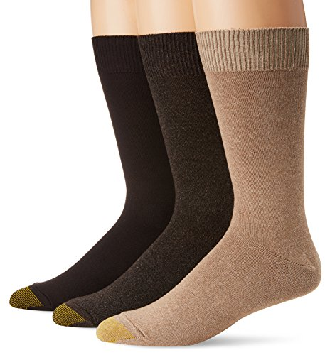- Gold Toe Men's Micro Flat Knit Crew Socks, Oatmeal/Brown Heather/Brown, Sock Size:10-13/Shoe Size: 6-12 (Pack of 3)