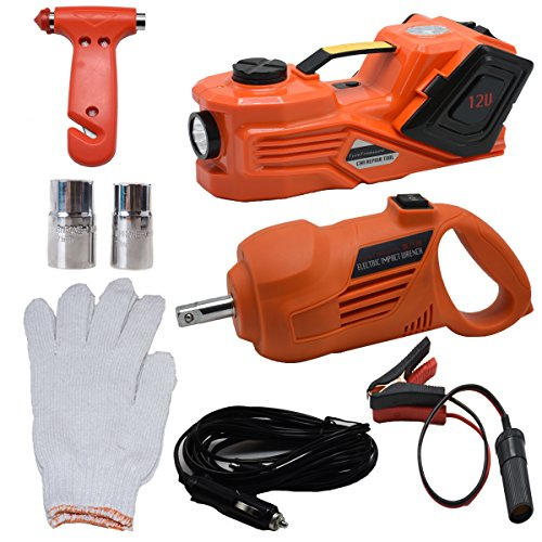 MarchInn 12V DC 3.0T(6600lb) Electric Hydraulic Floor Jack and Tire Inflator Pump and LED Flashlight 3 in 1 Set with Electric Impact Wrench Car Repair Tool Kit by MarchInn (Image #1)
