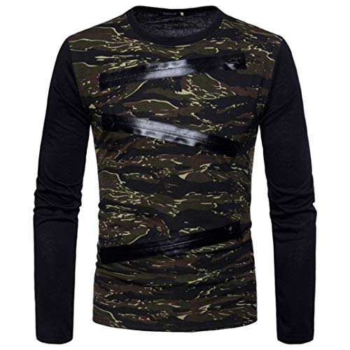 (NEARTIME Promotion❤️Men Casual Blouse, 2018 New Mens Long Sleeve Zipper Camouflage Shirts O-Neck Slim Patchwork Tops)