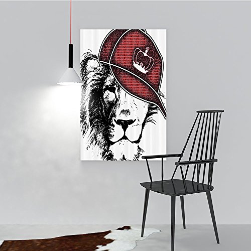Philip C. Williams Painting Living Room Decoration Frameless Hipster Le Hat with Sports Hat and Digital Grunge Murky Effects African King for Living Room Office Decor Gift W36 x H48