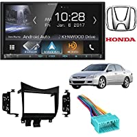 Kenwood DDX9704S 2-DIN In-Dash DVD/CD/AM/FM Car Stereo Receiver with Metra 95-7862 Double DIN Installation Dash Kit for Honda Accord (Black)
