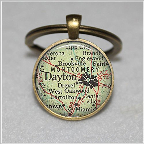 Dayton, Ohio map pendant, Dayton map Keychain, Dayton necklace, Dayton pendant, map jewelry Dayton keychain key chain key ring