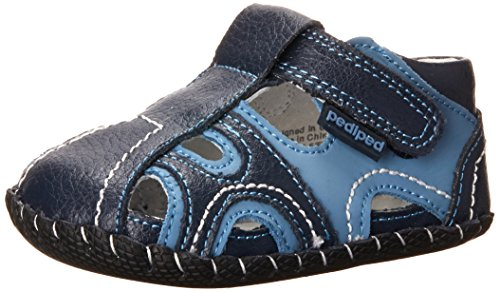 pediped Brody Originals Fisherman Sandal (Infant/Toddler),Navy/Light Blue,Small (6-12 Months)