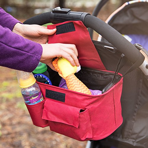 Universal Stroller Organizer Bag – Baby Stroller Bags with Large Storage Space for Diapers, iPhone, Wallet, Toys, Snacks| Stroller Caddy Bag with Insulated Cup Holders| One Size Fits All - Lightweight by fabulous sky llc
