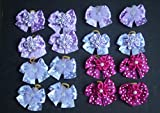 Lot 100 Dog Grooming Hair Bow- Purple and Fushia Polka Dot Collection -Super Value Pack for groomers or PET shops