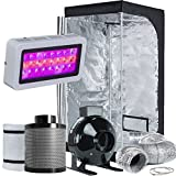 TopoLite Grow Tent Room Complete Kit Hydroponic Growing System LED 300W Grow Light + 4'' Carbon Filter Combo + 32''x32''x63'' Dark Room(LED300W+4'' Filter Combo+32''x32''x63'')