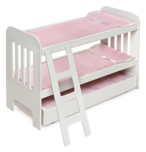 Trundle Doll Bunk Bed with Bedding, Ladder, and Free Personalization Kit (fits American Girl Dolls) ()