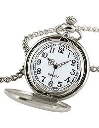 NICERIO Vintage Pocket Watch,Unisex Quartz Watch Mechanical Pocket Watch with Necklace Chain for Men Women (White)