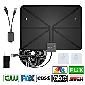 VICTONY HD Digital TV Antenna,Indoor Amplified HDTV Antenna 50 Mile Range with Detachable Amplifier Signal Booster and 16.5 Feet Coaxial Cable - Support All Formats