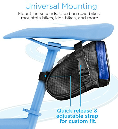 Aduro Bike Bag Bike Seat Pack, Strap On Saddle Bag Under Seat for Cycling all Bikes, Water Resistant Bike Storage Pack Seat Pouch with Taillight Hanger to Keep You Safe