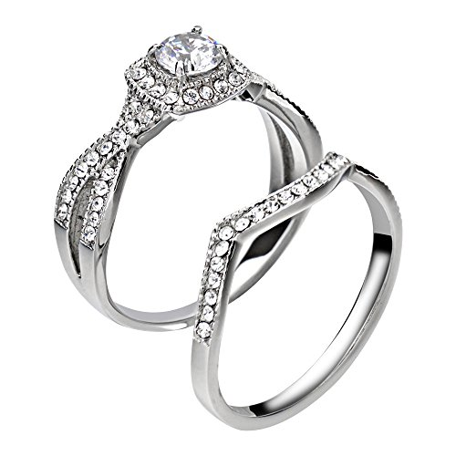 FlameReflection Stainless Steel Women's Infinity Wedding Ring Set Halo Round Cut Cubic Zirconia size 7.5 SPJ by FlameReflection (Image #2)
