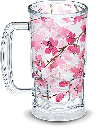 Tervis 1307811 Japanese Cherry Blossom Insulated Tumbler with Wrap 16oz Beer Mug Clear