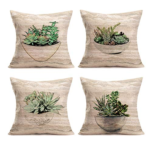 Smilyard Set of 4Green Plant Throw Pillow Covers Tropical Plant Sketch Style Succulent Potting White Scrub Pillowcase Cotton Linen Pillow Cover Cushion Cover for Home 18x18 Inch (Green Plant 4PC) (Linen Scrubs)