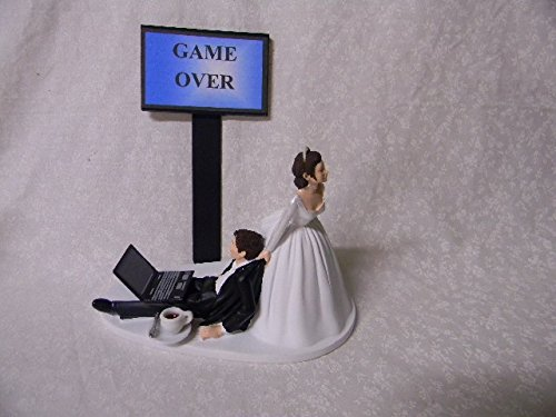 Wedding Computer Laptop coffee Computer both dark hair Geek Cake (Computer Cake Topper)