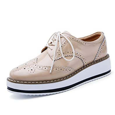 brand new 5bc5b f0c52 Scarpe Stringate Basse Donna Brogue Casual Plateau Calzature in Pelle Wedge  Sneakers Indoor Nero Bianca Beige Vino Rosso 35-41