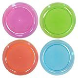 Party Essentials Hard Plastic 9-Inch Round Party/Luncheon Plates, Assorted Neon, 20-Count