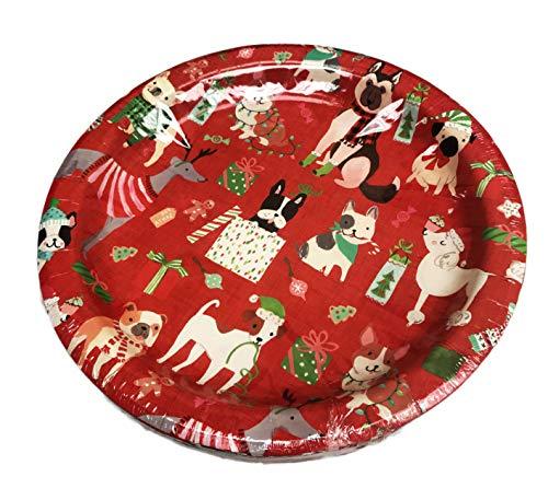 Festive Multi Dog Breeds Pug Poodle Corgi German Shepard Greyhound Merry Christmas Pack of 16 10.5