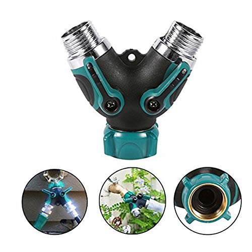 Hangang Sprinkler Lawn, Sprinkler for Garden Hose Splitter Sprinkler System Stopcock 2 Way Y Hose Connector with Comfortable Rubberized Grip, Fits with Outdoor Faucet, Sprinkler (2-Pack)