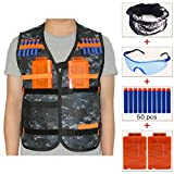 Kids Camouflage Tactical Vest Jacket Kit (with 50pcs Blue Foam Darts + Protective Goggles Glasses + Seamless Skull Face Mask + 2 Pcs 5-dart Quick Reload Clip) for Nerf Toy Gun N-strike Elite Series