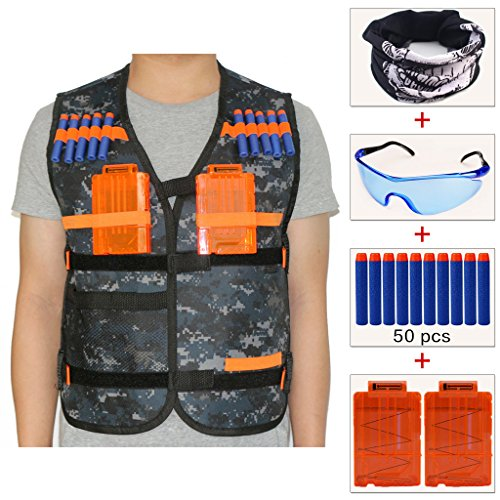 (COSORO Kids Camouflage Tactical Vest Jacket Kit (with 50pcs Blue Foam Darts + Protective Goggles Glasses+Seamless Face Mask+2 Pcs 5-Dart Quick Reload Clip) for Nerf Toy Gun N-Strike Elite Series)