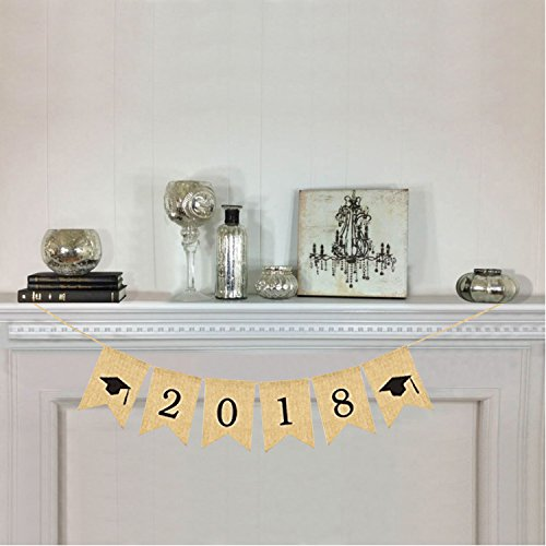 2018 Burlap Banner Rustic Graduation Party Decorations Grad