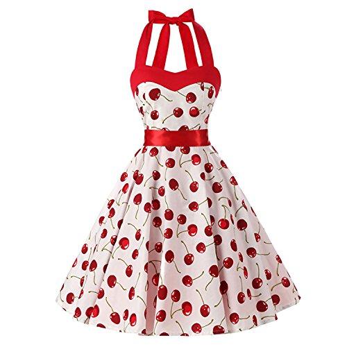 Baqijian Summer Dress Cotton Halter Backless Sexy Evening Party Dresses Vintage Dress White Bottom Cherry M (Vintage Cherry)