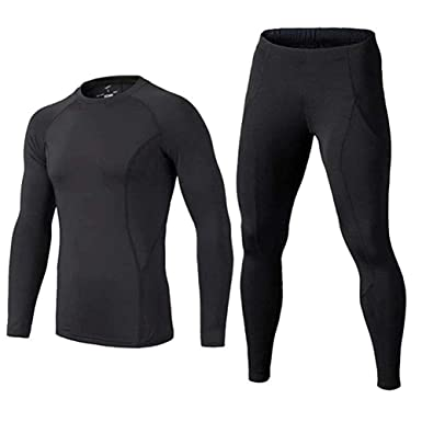 12e68f0716 BUYKUD Kids' Boys Long Sleeve Base Layer Compression Underwear Athletic Shirt  Tights Top & Bottom