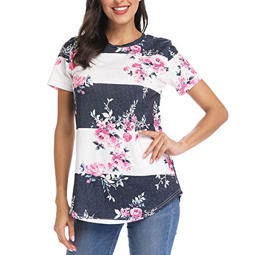 - INWECH Women's Casual Floral Elegant Blouses Tee Cute Tops Ladies Short Sleeve Crew Neck T Shirt Blouse (X-Large, White grey)