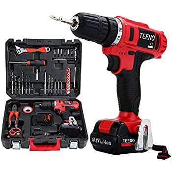 TEENO Cordless Drill Set 16.8V Lithium 2 Batteries Drill Driver Kit with 36 Accessories