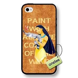 Disney Cartoon Movie Pocahontas Hard Plastic Phone Case & Cover for iPhone 4/4s - Black