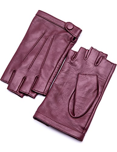 YISEVEN Women's Lambskin Leather Fingerless Gloves with Classical Three Points Button Closure and Buttery Soft Half Finger for Winter Warm Dress Motorcycle Driving, Wine Red 8.5