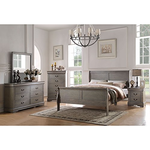 Acme Set Bedroom Set - Acme Furniture Louis Philippe Antique Grey 4-Piece Sleigh Bedroom Set Twin