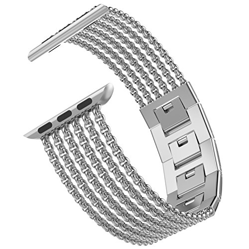 Wearlizer Silver Compatible with Apple Watch Band 42mm 44mm iWatch Womens Mesh Loop Stainless Steel Replacement Metal Beauty Strap Wristband Dress Chain Bracelet Series 4 3 2 1 Nike+ Sport Edition