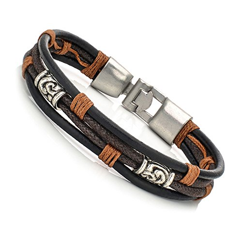 Men Jewelry Leather Wrist Band Brown Cool Rope Boys Bracelet(Black)
