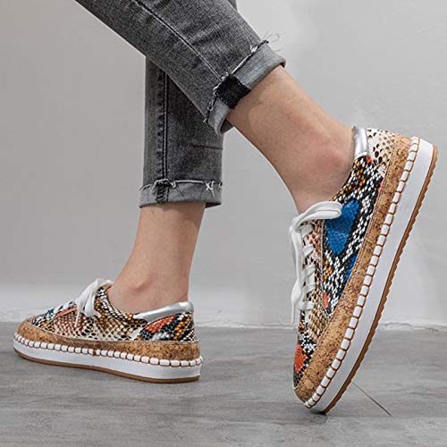 Women's Snake Sneakers Flat Lace Up Fashion Canvas Shoes Outdoor Casual Non-slip Comfy Loafer Versatile Shoes