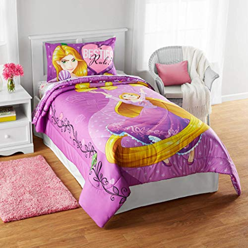 LO 1 Piece Kids Girls Purple Disney Rapunzel Comforter Twin/Full, Cute Princess Bedding Golden Hair Magical Friends Light Your Way Themed Pink White Heart Vines Adorable, Polyester