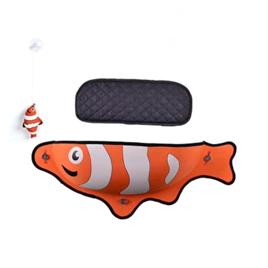 orange Sunbathing Bed,Pet Supplies,House,Cat Hammock, Relieve Stress,Small Animals,Fish Shape,Suction Cup, EVA,Easy to Install,Breathable,Load Capacity (color   orange)