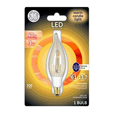 GE Lighting 33027 3 Watt E12 CAC Warm Candle Light Vintage LED Dimmable Light Bulb