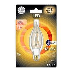 Ge 33027 Vintage Candelabra Base Led Light Bulb, 300 Lumens
