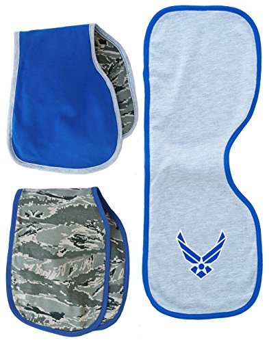 TC US Air Force Logo Baby 3 pc Burp Bib Cloth Set (Air Force Bib)