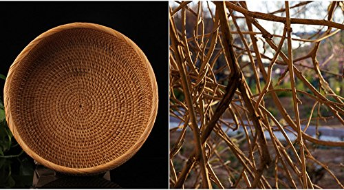 100% Handmade Weaved Storage Bin Fruit Basket Rattan Hamper Wicker Tray Weaving Rack Holder Dining Room Small Container Box Natural Decor Serving Handcrafted Bowl Organizer Serving Snack Dish Display by yaku (Image #3)