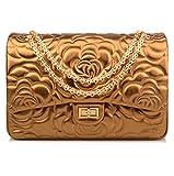 Ainifeel Women's Quilted Oversize Genuine Leather Shoulder Handbag Hobo Bag Purse (X-Large, Flower (copper gold with gold hardware))