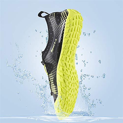 Water Shoes for Men Quick-Dry Aqua Sock Outdoor Athletic Sport Shoes for Kayaking,Boating,Hiking,Surfing,Walking (A-Black/Green, 43) by WateLves (Image #7)