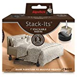 "Slipstick CB659 Adjustable Bed Risers for Desks, Tables, and Heavy Furniture (Set of 8) Adds 1.25"", 2.5"" Or 3.75"" H, Black"
