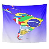 Emvency Tapestry 50''x60'' Mandala Indian hippie wall hangings Map Symbolic Latin America South Middle Outline And Flags Brazil Mexico Argentina Home Decor Tapestries For Living Room
