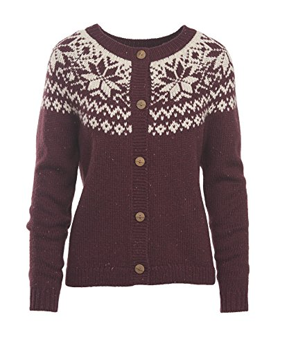 Woolrich Women's Snowfall Valley Cardigan, Burgundy, Medium