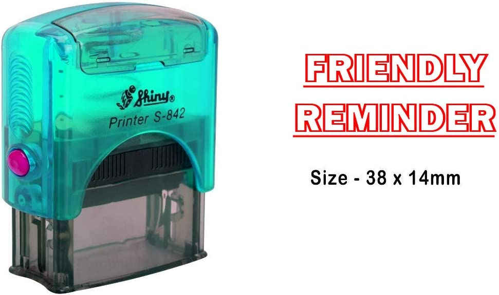 eloria Friendly Reminder Self Inking Rubber Stamp-Shiny S-842-Red Ink