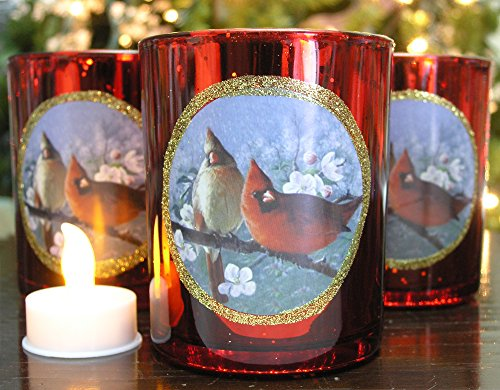 Christmas Cardinals - Set of 3 Metallic Red Votive Candle Holders with a Winter Cardinal Scene - 3 LED Tealight Candles Included - Holiday Votive Candle Holders
