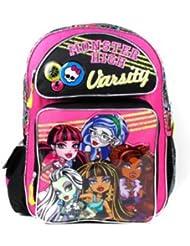Monster High Backpack - Pink Varsity 16 Large Girls School Book Bag Frankie